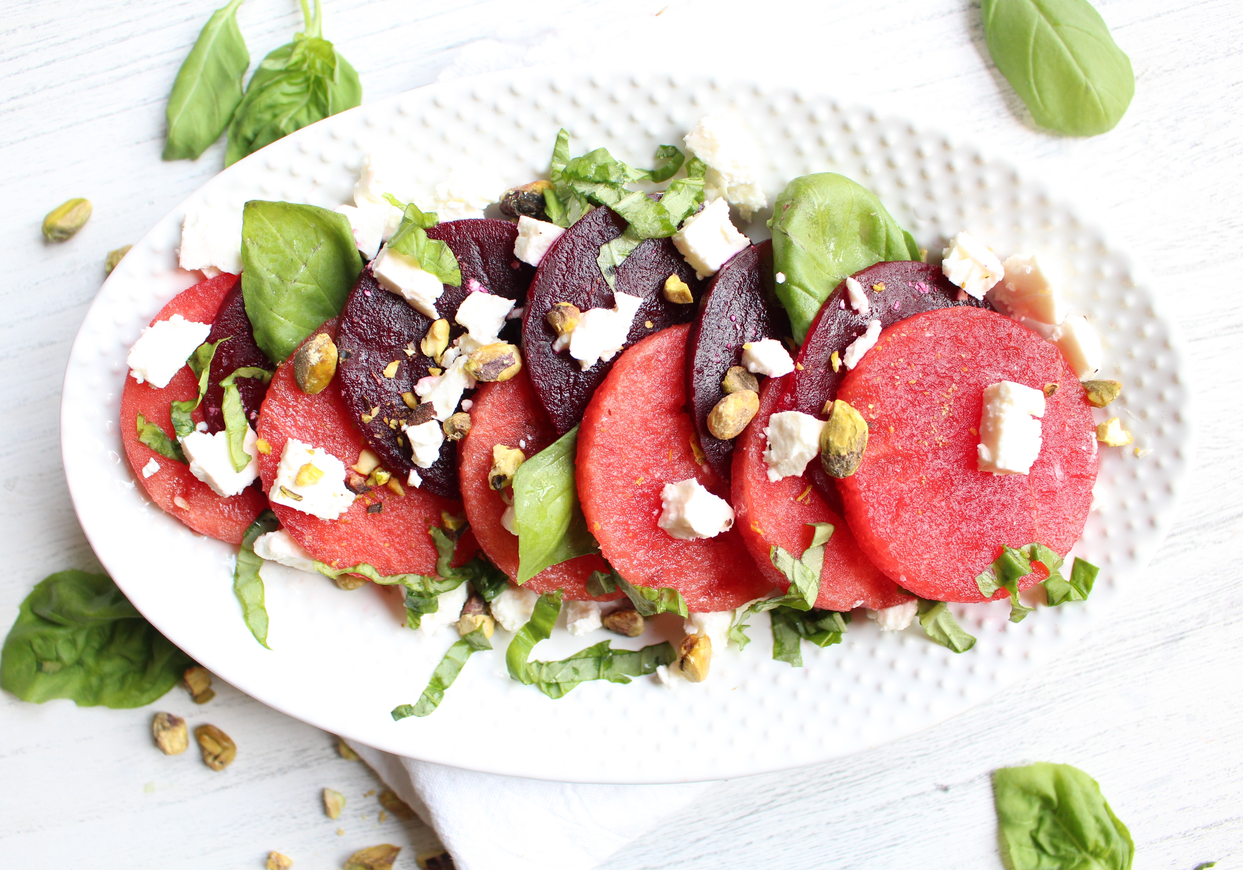 Roasted Beet and Watermelon Salad with feta, basil, and pistachios - the perfect refreshing summer salad!