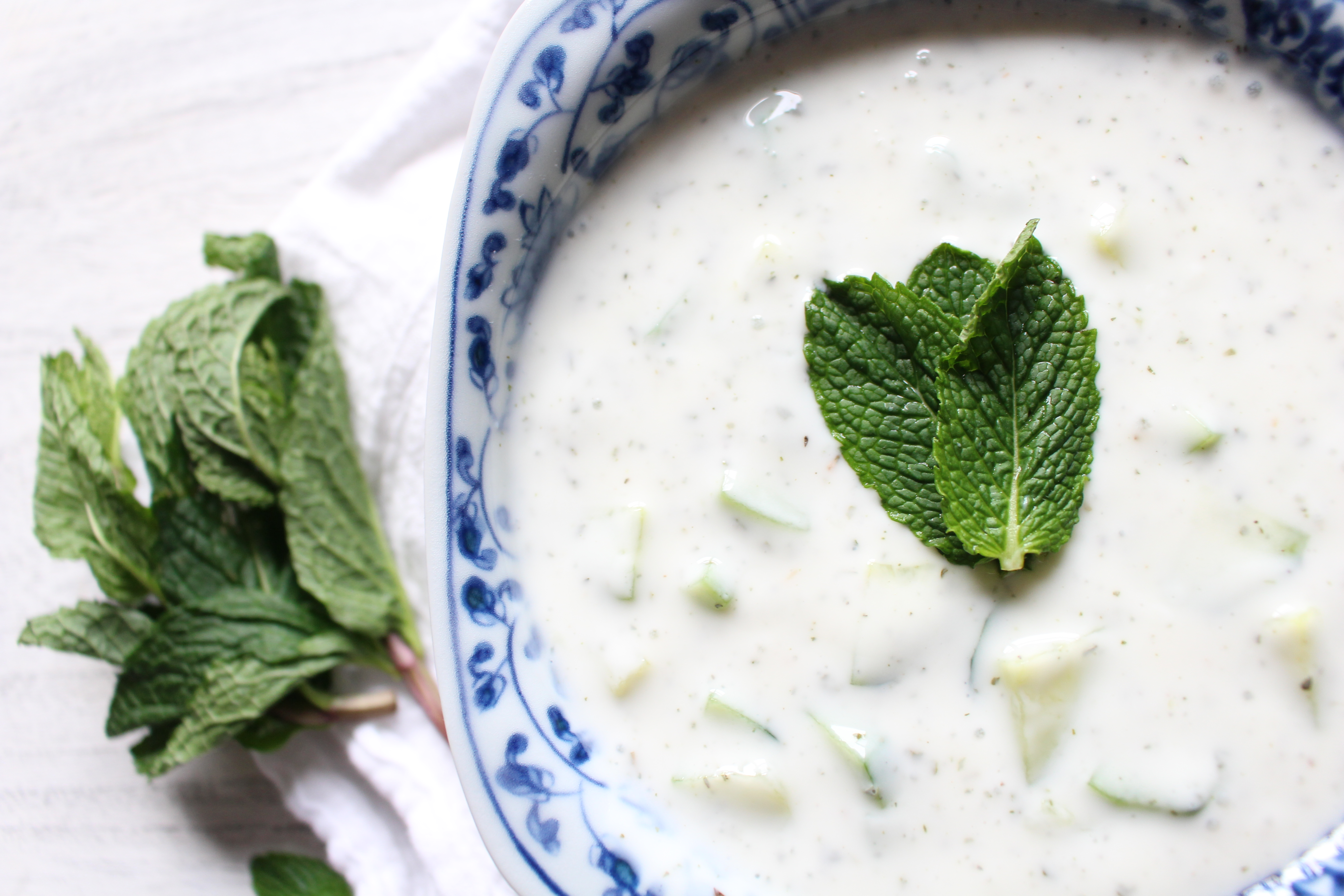 Cool and refreshing cucumber and mint yogurt sauce. The Middle Eastern version of tzatziki, this sauce is great on grilled veggies, meat, or fish or on lentils - or by itself!