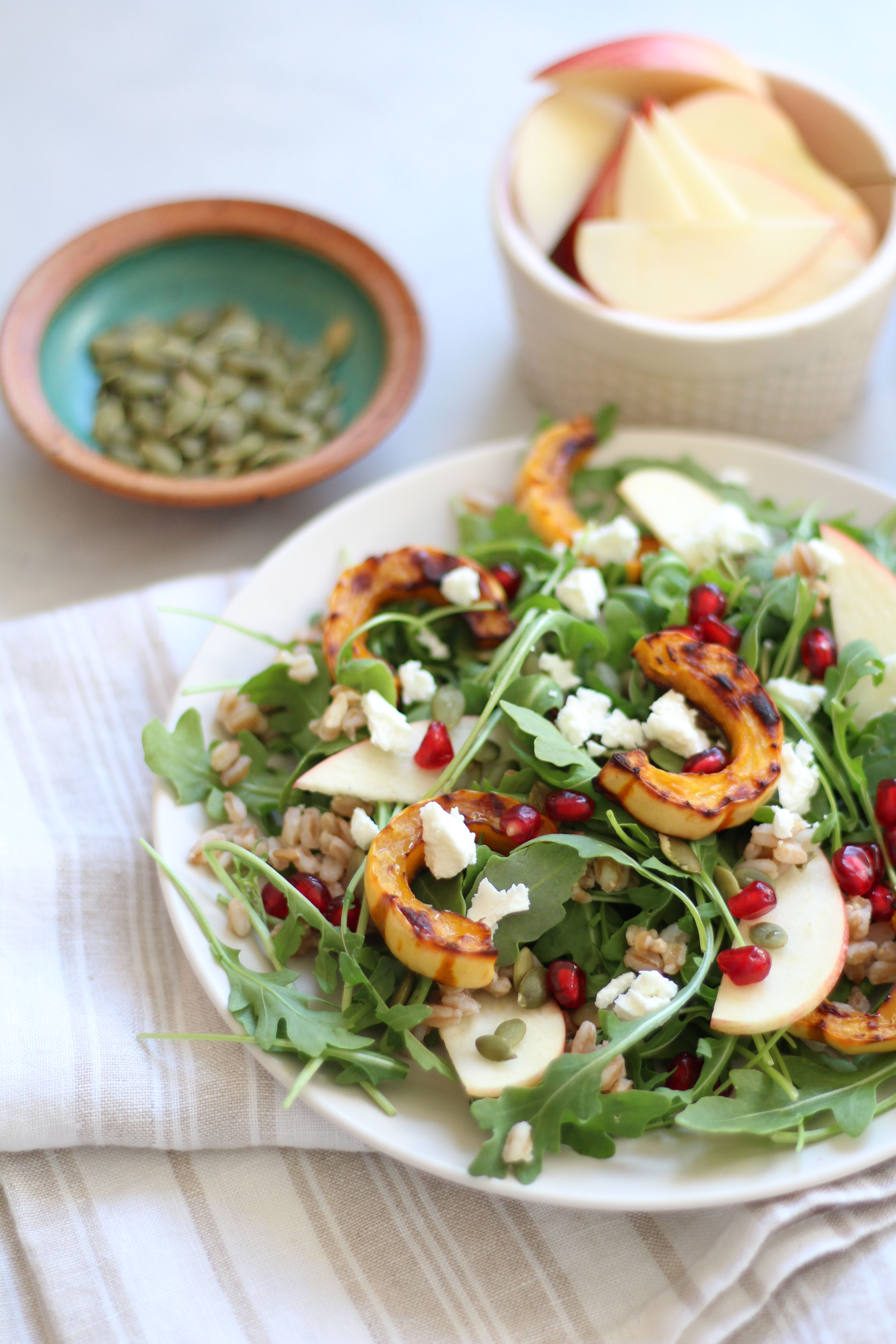 Roasted delicata squash, farro, and arugula salad - the perfect fall and winter salad!