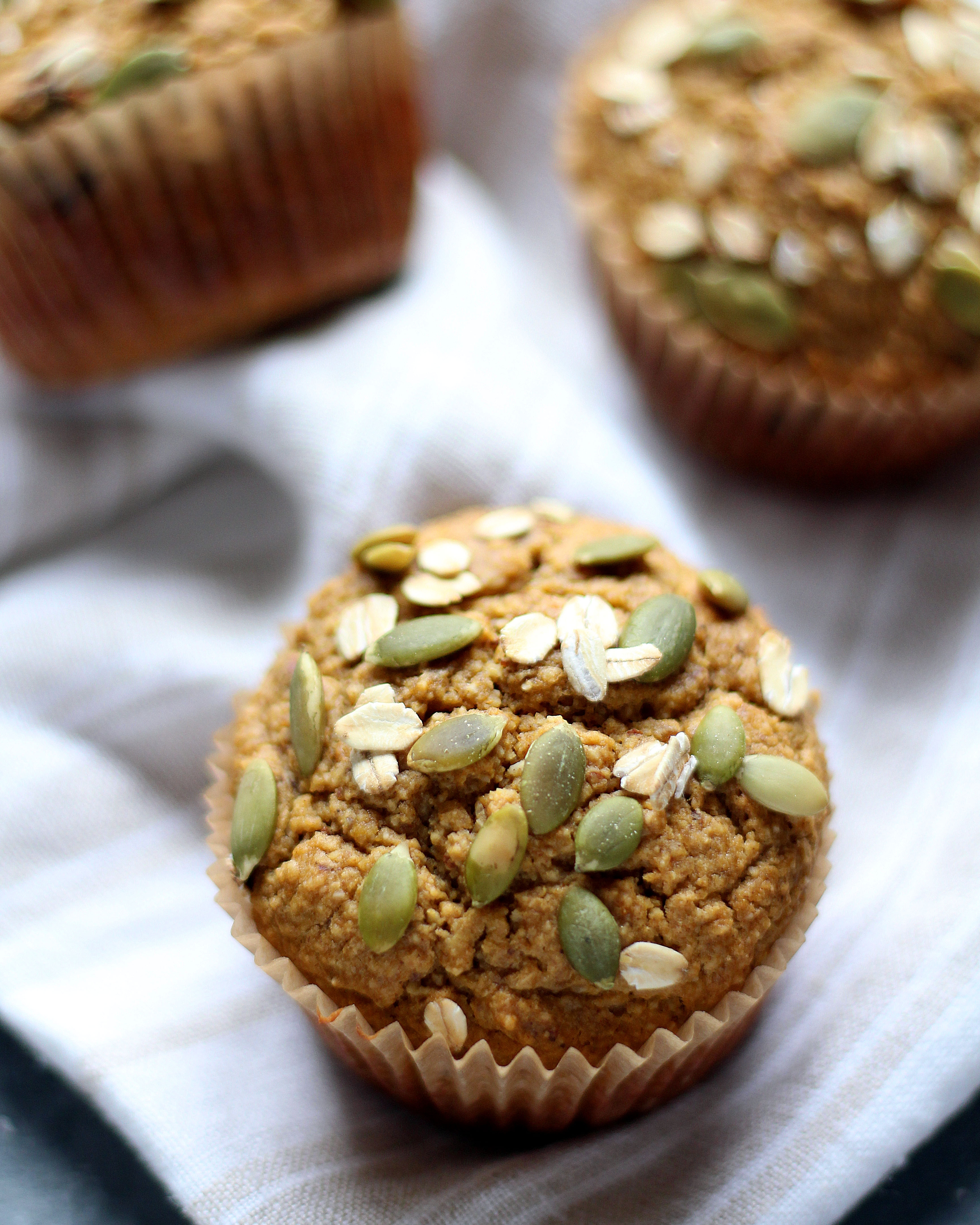 Healthy Flourless Pumpkin Muffins - a hearty and light muffin that's perfect with your morning cup of coffee!