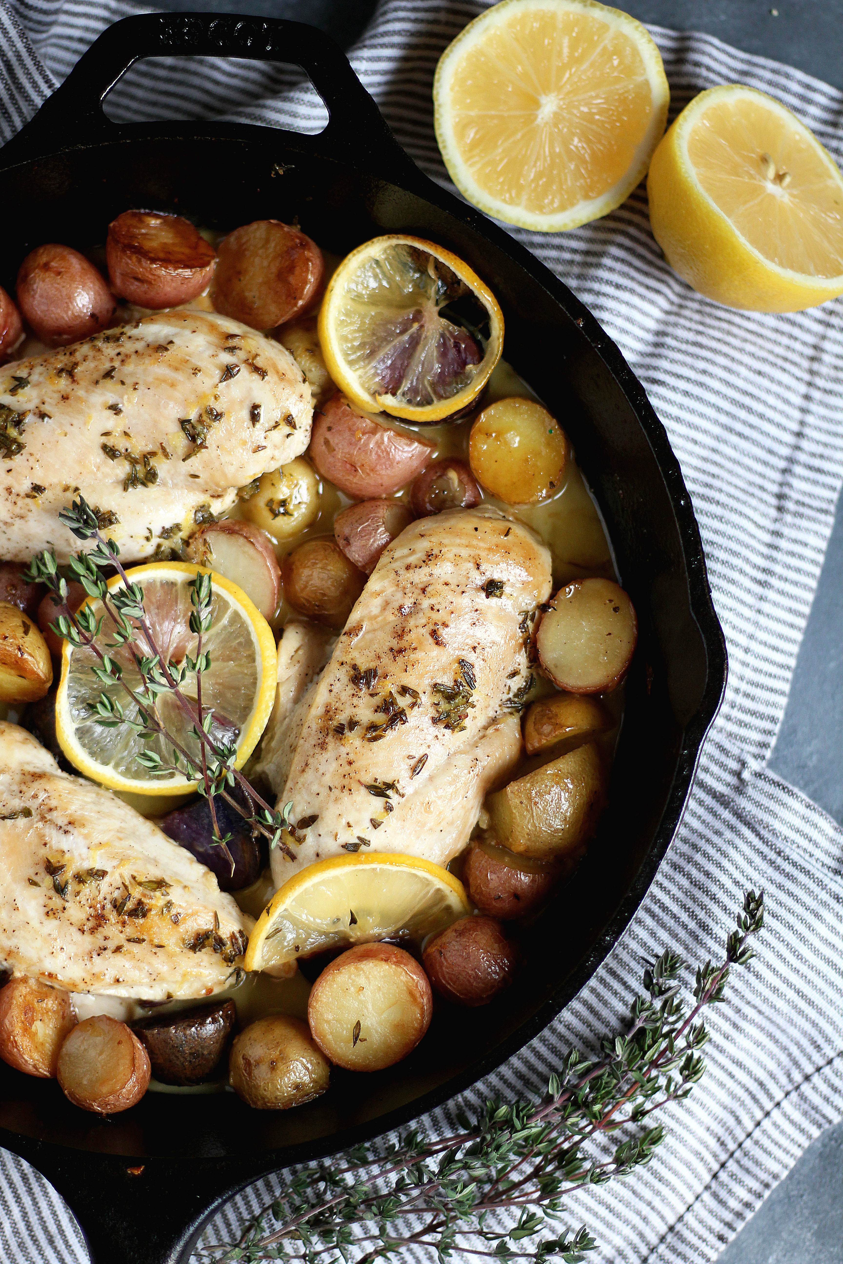 One-Skillet Garlic Lemon Chicken with Baby Potatoes - an easy and delicious weeknight meal!