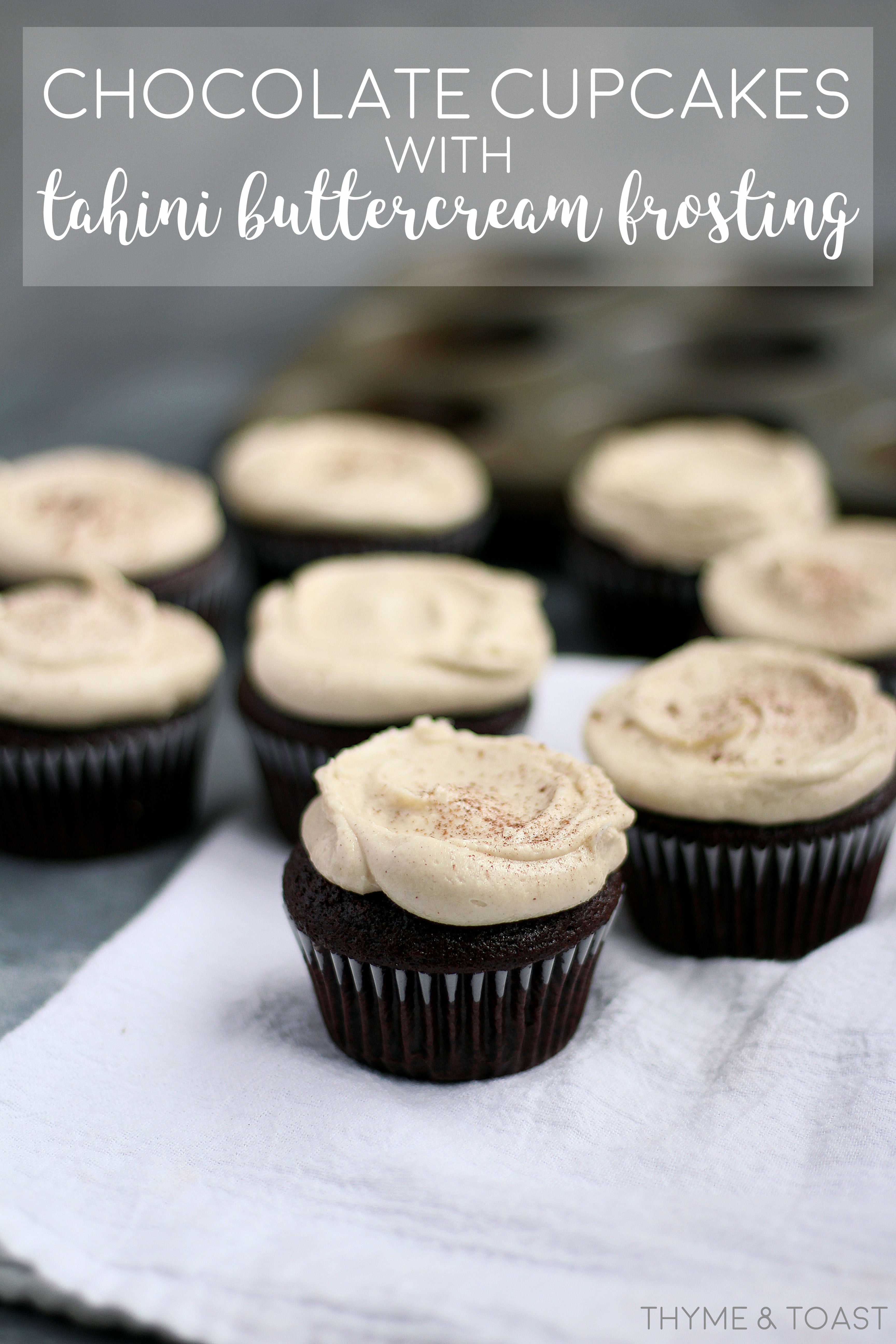 Chocolate Cupcakes with Tahini Buttercream Frosting