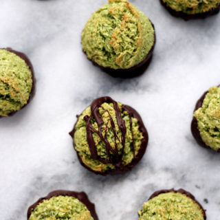 Chocolate Dipped Matcha Macaroons