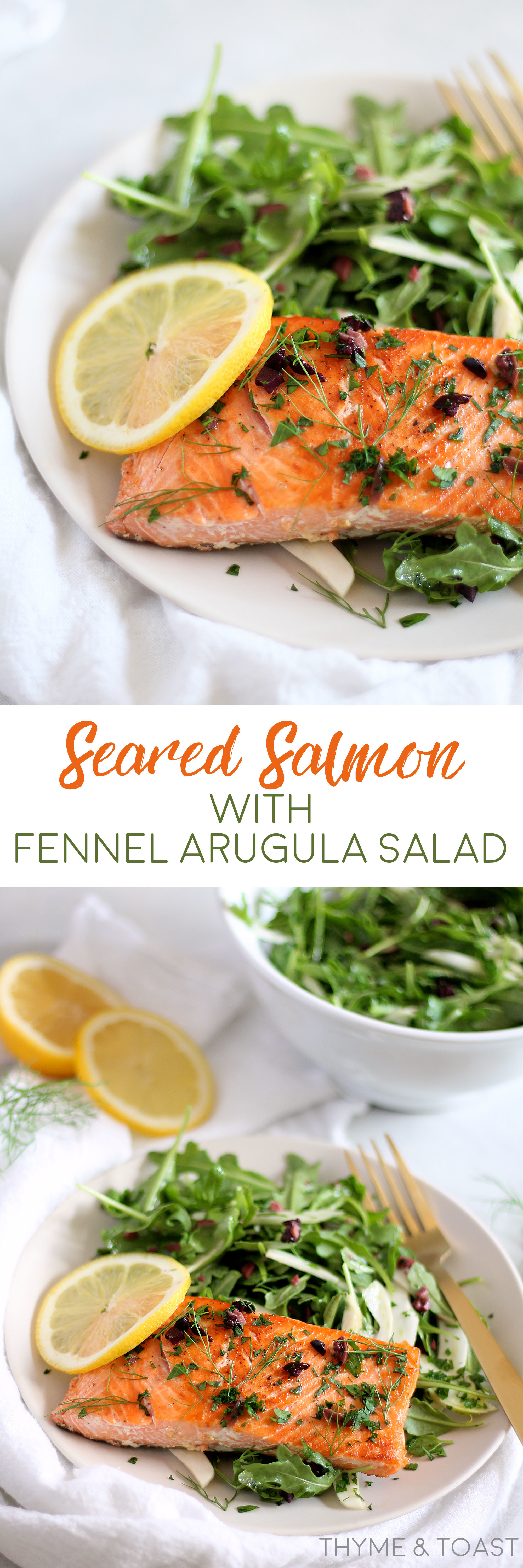 Seared Salmon with Fennel Arugula Salad